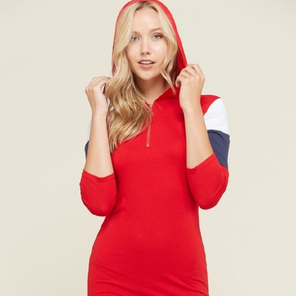COLOR FOUR SEASONS Dresses & Skirts - DRESS MINI HOODIE (O RING ZIPPER) RED